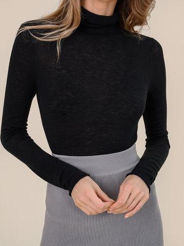 Женская водолазка черного цвета из 100% шерсти - фото 3