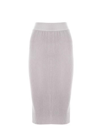Женская юбка светло-серого цвета из шерсти - фото 1