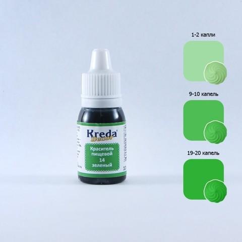 Краситель Kreda, жирораств-ый, зеленый, 10мл