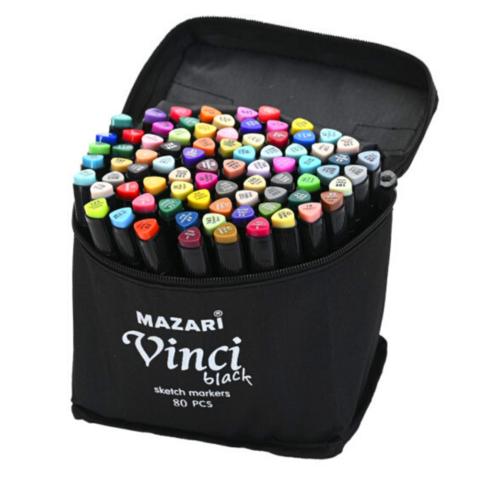 Mazari Vinci Black набор маркеров для скетчинга 80 шт двусторонние спиртовые пуля/долото 1.0-6.2 мм