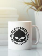 Кружка с рисунком Harley-Davidson (Харли-Дэвидсон) белая 007
