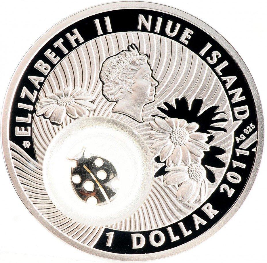 1 доллар. Божья коровка Монета на счастье. Ниуэ. 2011 год