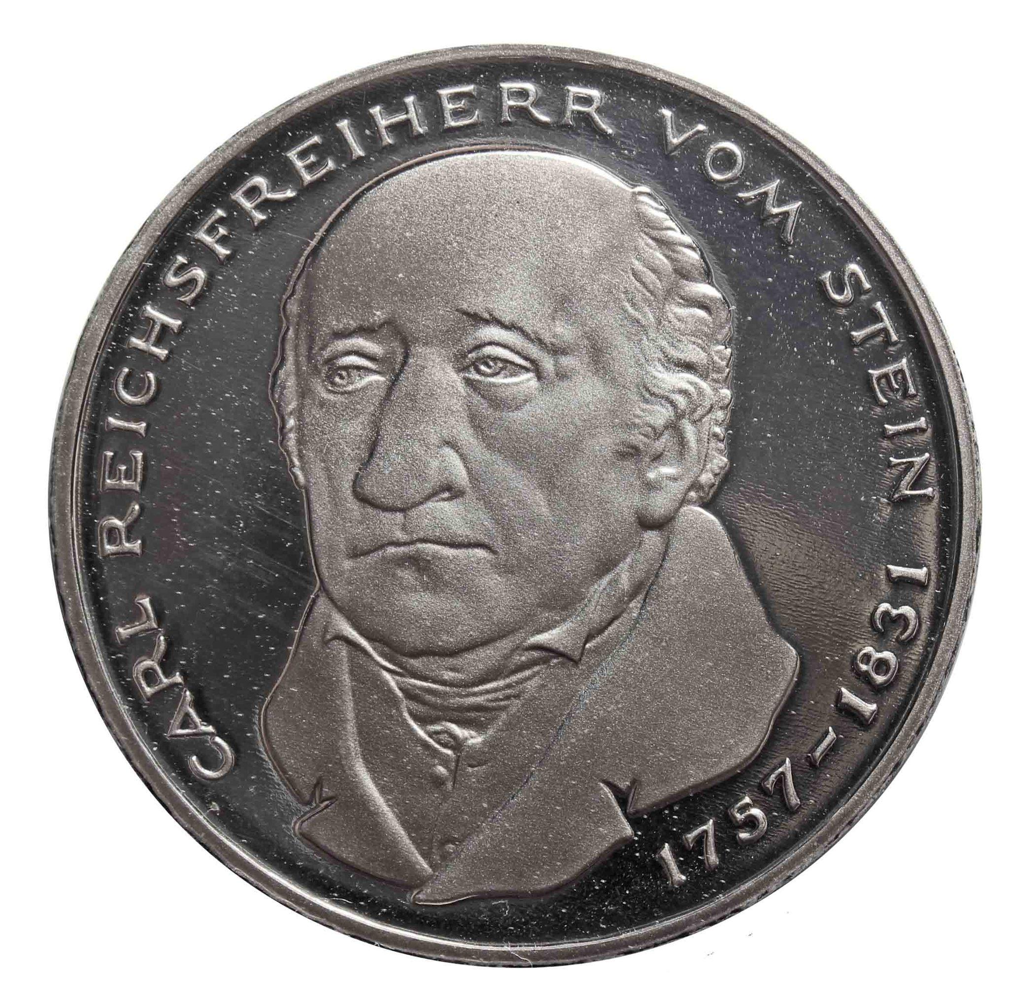 5 марок. 150 лет со дня смерти Карла фом Штейна (G). Медноникель. 1981 г. PROOF