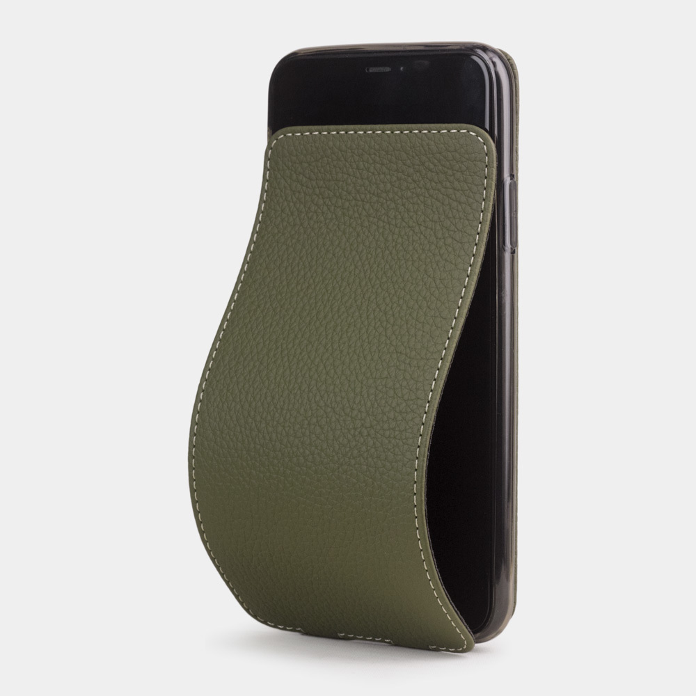 Чехол для iPhone 11 Pro Max из натуральной кожи теленка, зеленого цвета