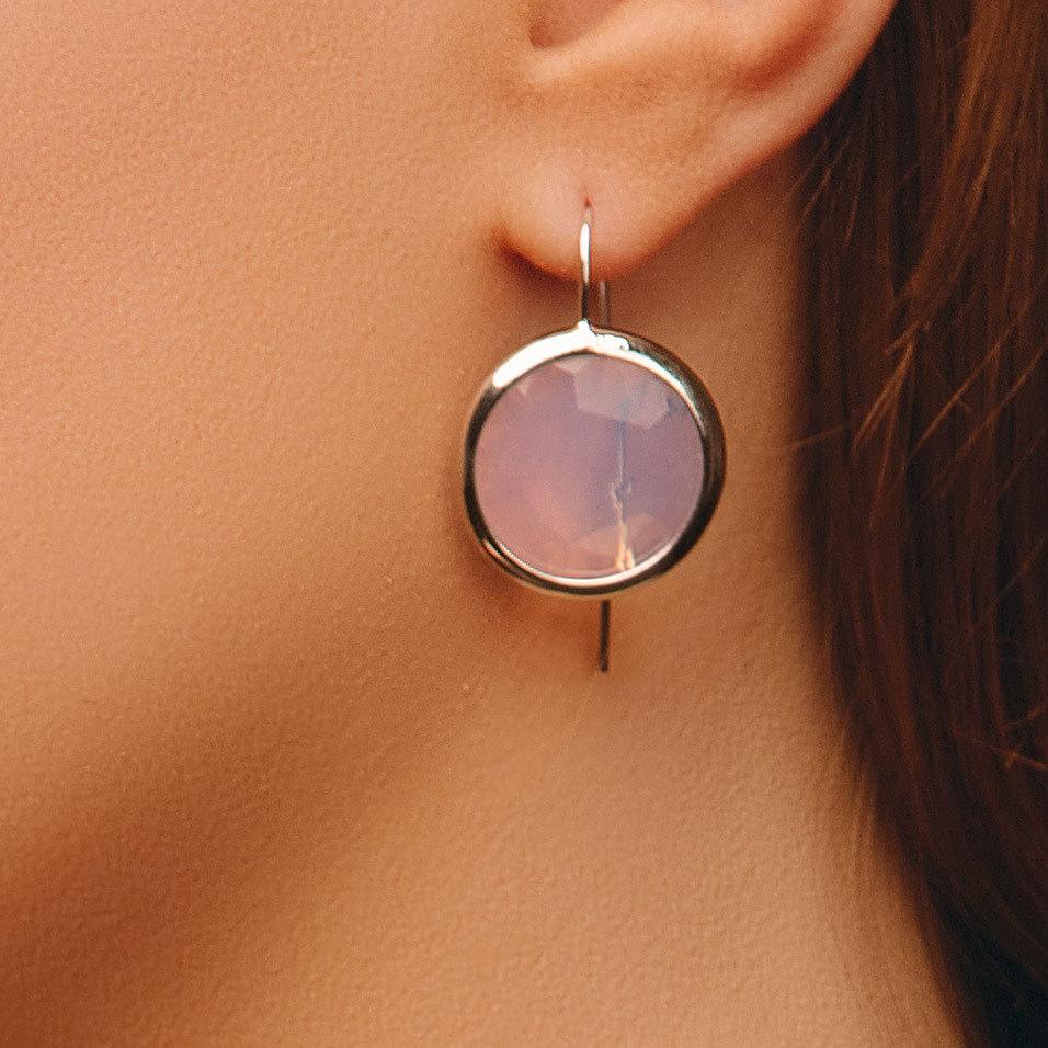 Серьги с круглым кристаллом (розовый)
