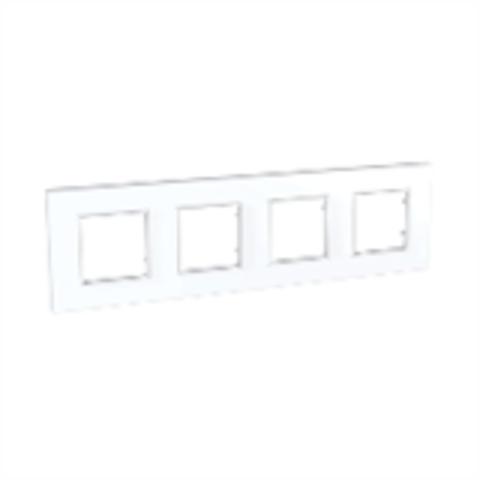 Рамка на 4 поста. Цвет Белый. Schneider Electric Unica Quadro. MGU2.708.18