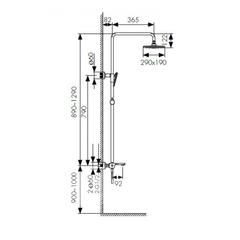 Душевая система KAISER Elite 01182 хром и 01182-2 черный матовый с термостатом схема