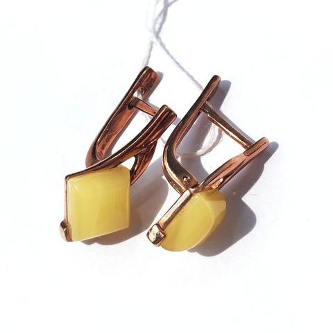 Серебряные серьги с позолотой с молочным Янтарем
