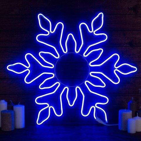 Снежинка светодиодная d-75 см. Фигура из гибкого неона. Синяя