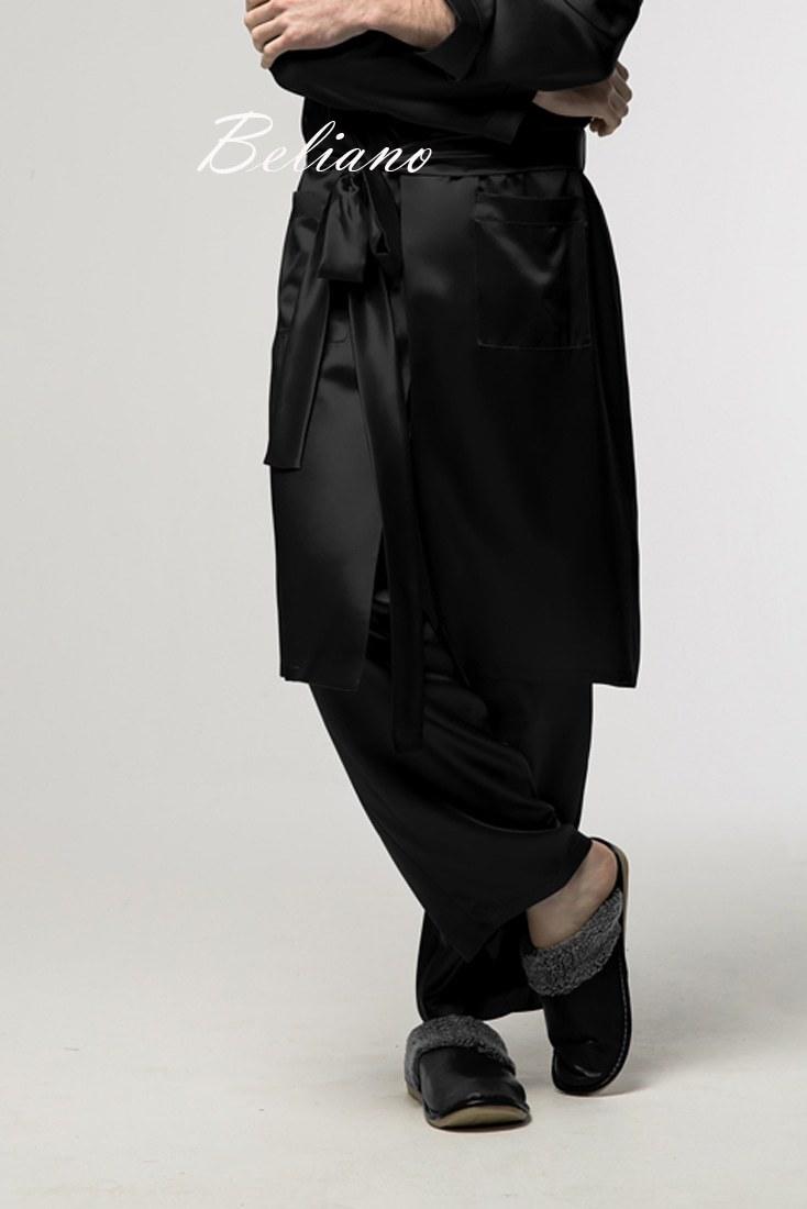 шелковый халат и брюки мужские черного цвета