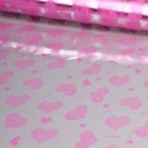 Пленка полипропиленовая цветная Сердца Love Is 70см х 7м Цвет: розовый