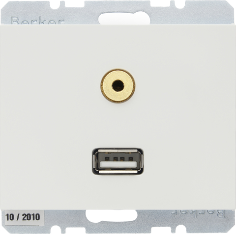 Розетка USB/3.5mm AUDIO. Цвет Полярная белизна. Berker (Беркер). K.1. 3315397009. Цвет Полярная белизна. Berker (Беркер). K.1. 3315397009