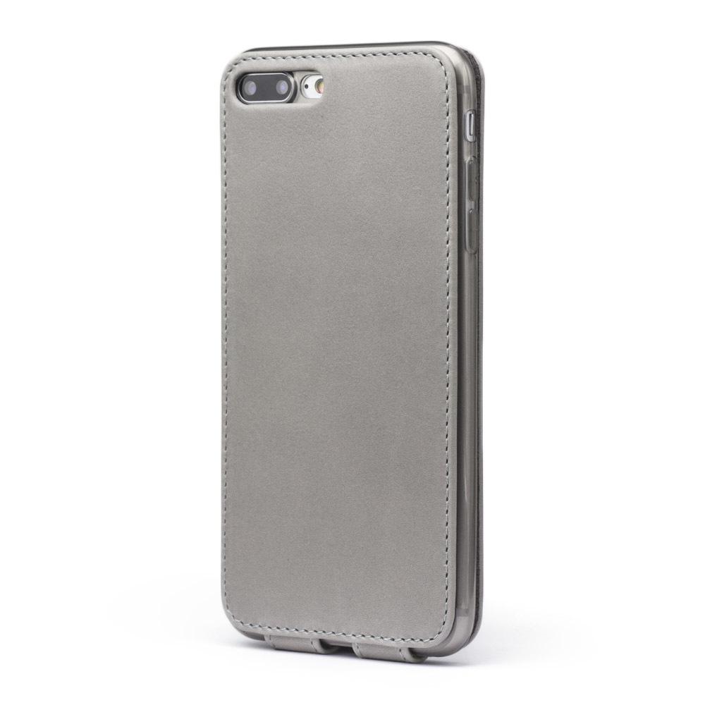 Чехол для iPhone 7 Plus из натуральной кожи теленка, светло-серого цвета