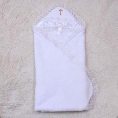 Крыжма для крестин Бантик (белая с золотым крестиком)
