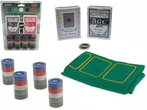 Набор для игры в покер. 100 фишек с номиналом, фишка дилера, 2 колоды карт, сукно. :(QH-100):