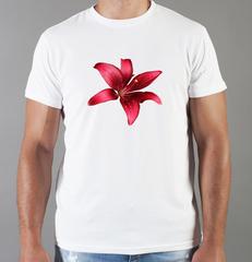 Футболка с принтом Цветы (Лилии) белая 002