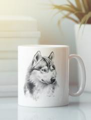 Кружка с изображением Волк (Wolf) белая 006