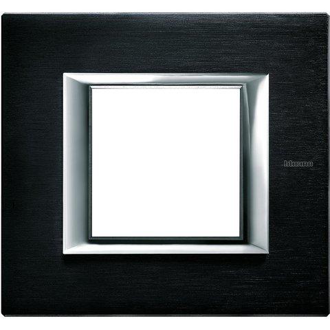 Рамка 1 пост, прямоугольная форма. АЛЮМИНИЙ. Цвет Антрацит. Немецкий/Итальянский стандарт, 2 модуля. Bticino AXOLUTE. HA4802XS
