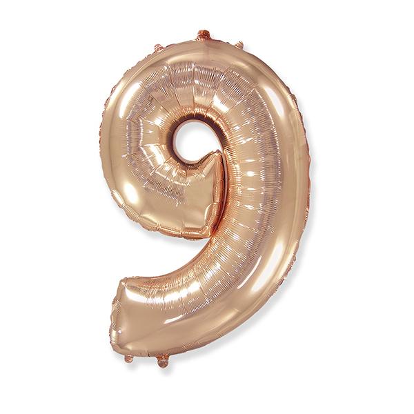 Фольгированная цифра 9, розовое золото