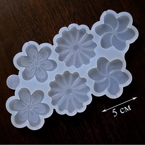 Силиконовая форма для леденцов ЦВЕТЫ АССОРТИ 6в1 прозрачный силикон (диаметр 50мм)