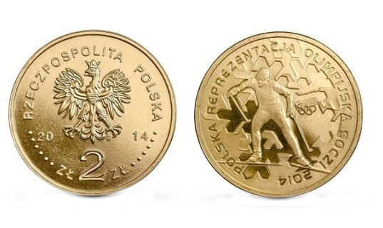 2 злотых. Олимпиада в Сочи. Польша. 2014 год. UNC