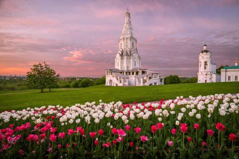 Алмазная Мозаика 40x50 Поле с тюльпанами перед церквью