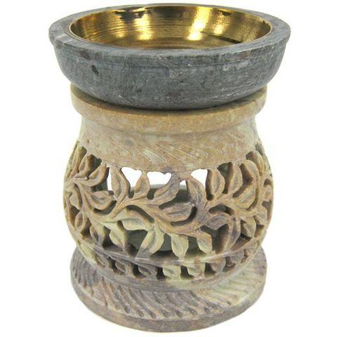 Аромалампа Stone камень c бронзовой чашей, 11 см