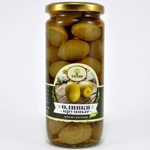 Оливки зеленые с косточкой крупные Amado, 500г