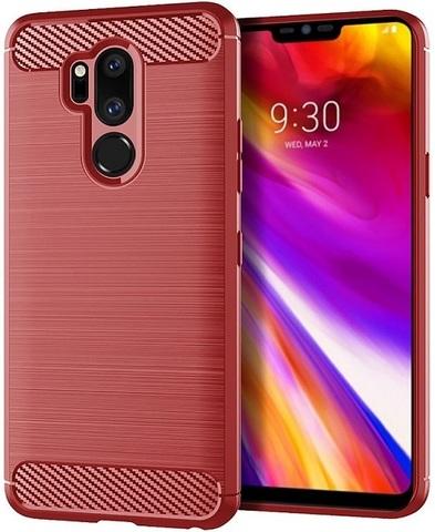 Чехол для LG G7 ThinQ (G7+ ThinQ) цвет Red (красный), серия Carbon от Caseport