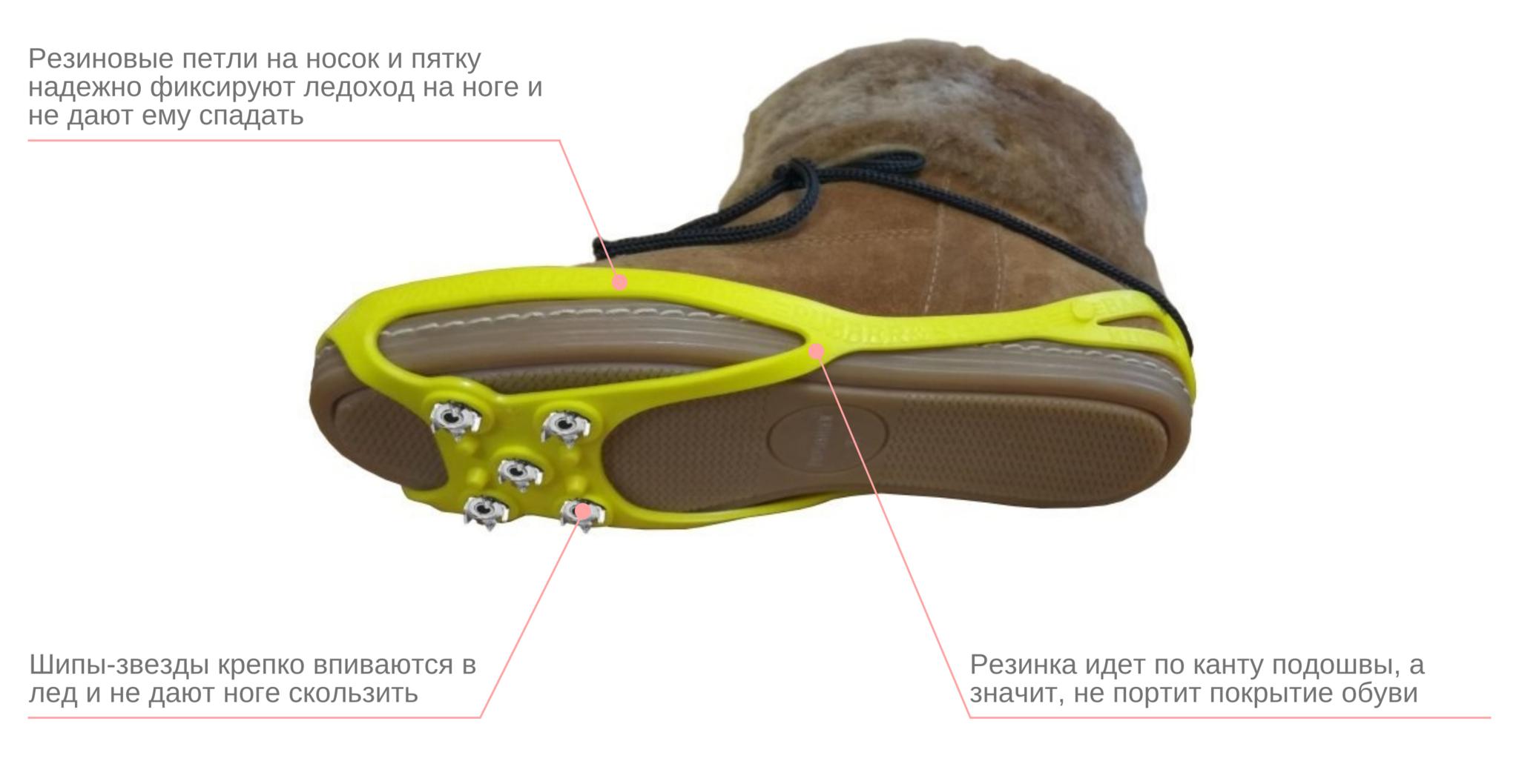 Ледоходы улучшенные на 5 шипах-звездочках с плотной посадкой на любой обуви, цветные