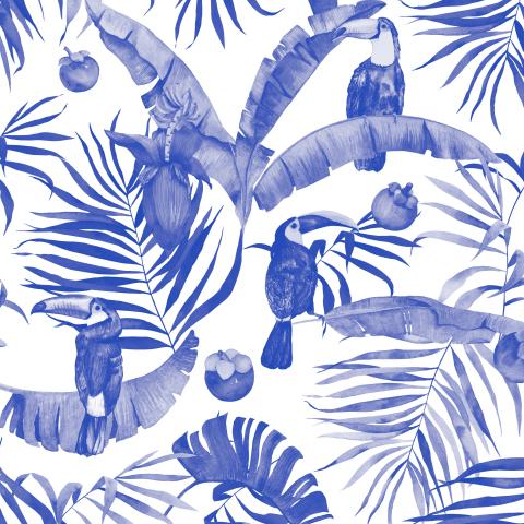 Акварельные синие туканы. Монохром
