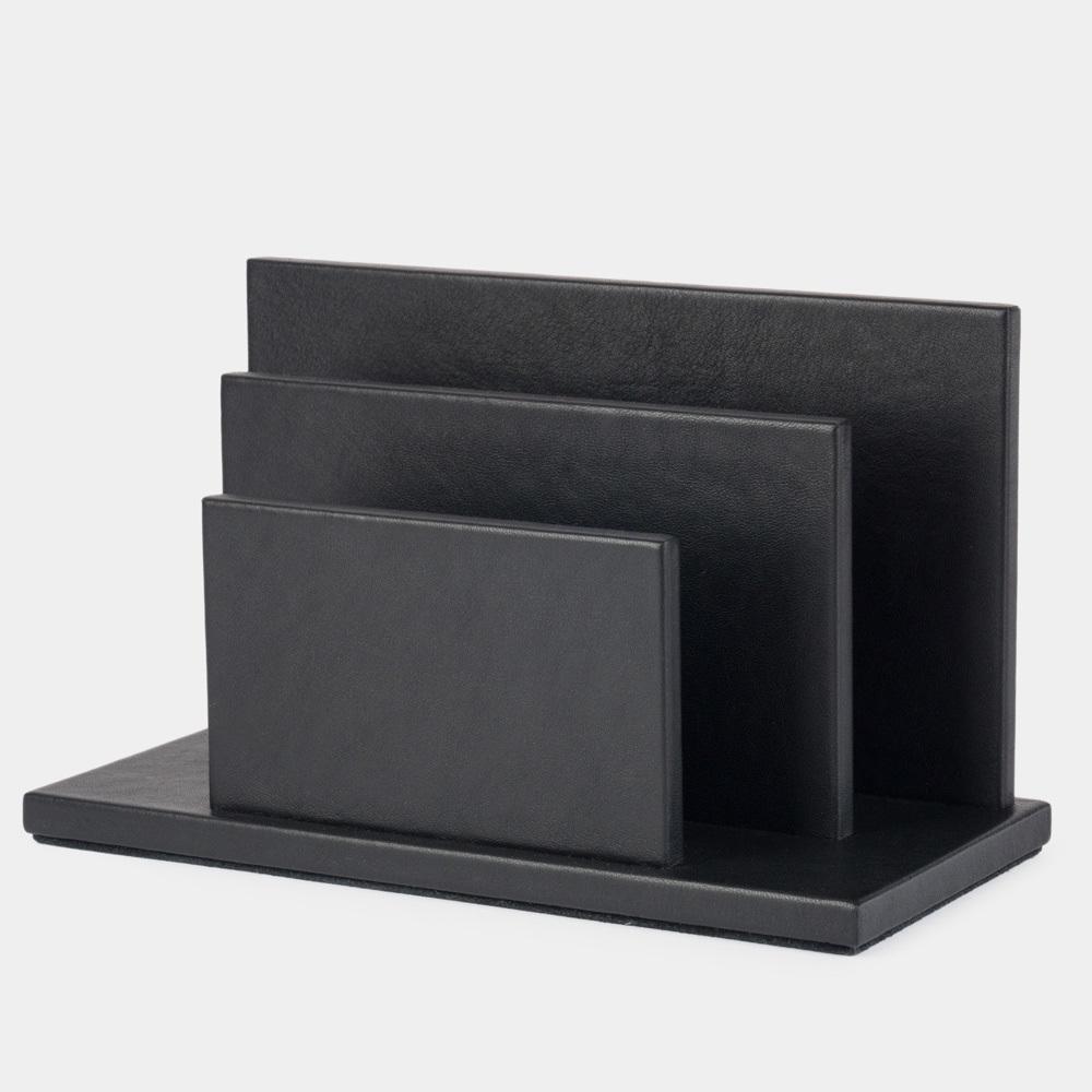 Подставка для визиток и бумаг из натуральной кожи теленка, черного цвета