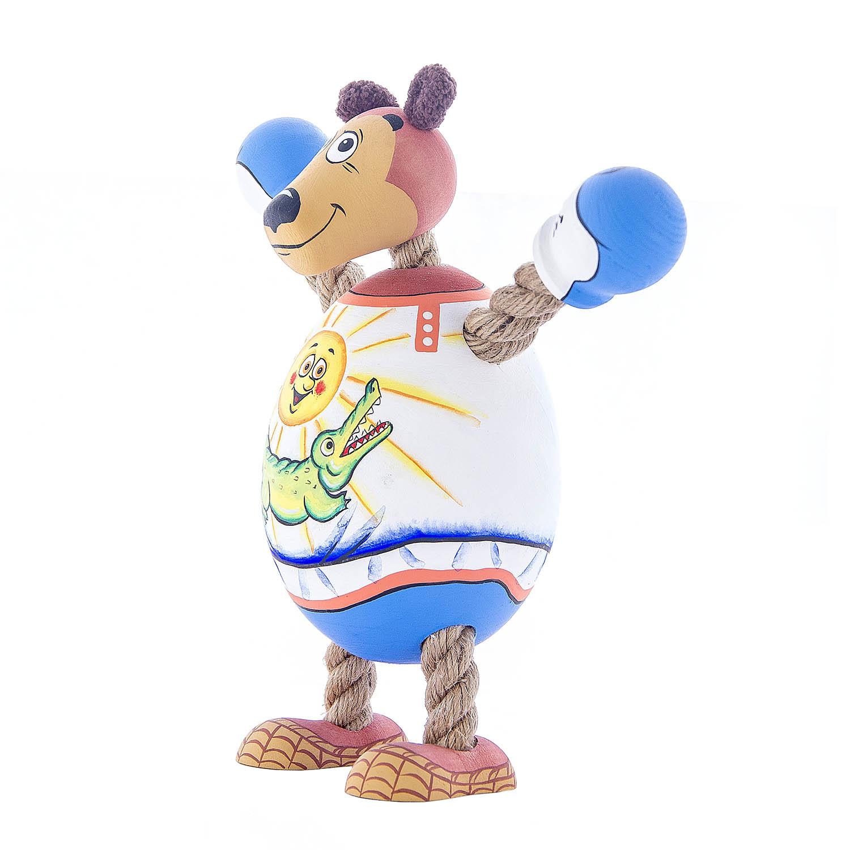 Деревянная игрушка  «Медведь-боксёр»