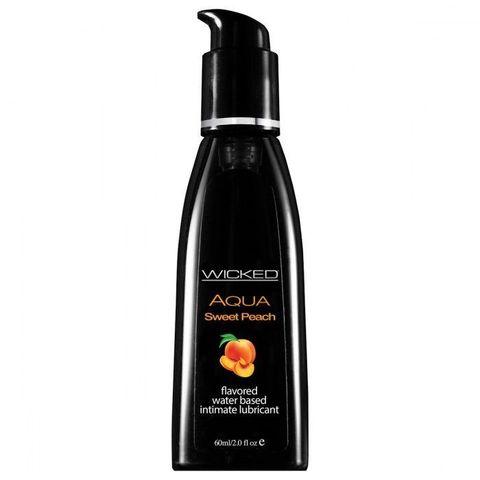 Лубрикант с ароматом спелого персика WICKED AQUA Sweet Peach - 60 мл.