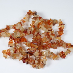 Бусина Агат Красный, крошка, 3-5 мм, нить