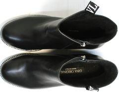 Осенние полусапожки женские Jina 6845 Leather Black.