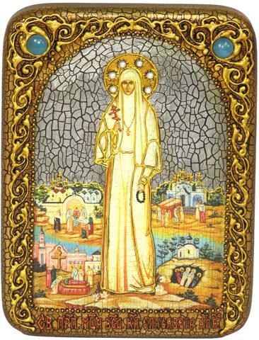 Инкрустированная икона Святая преподобномученица великая княгиня Елисавета 20х15см на натуральном дереве, в подарочной коробке