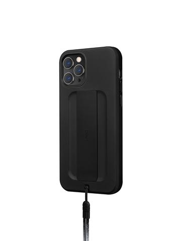 Чехол Uniq HELDRO для iPhone 12/12 Pro | держатель + шнурок анти-микробное покрытие черный