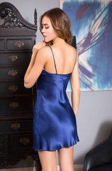 Сорочка натуральный шёлк синяя