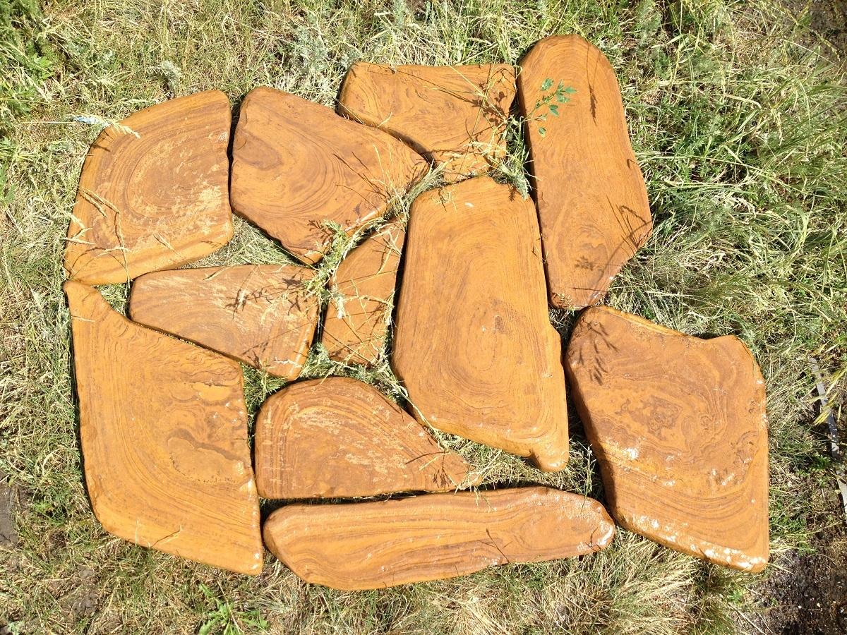 Камень для мощения Песчаник галтованный Ручейник РЫЖИК коричневый