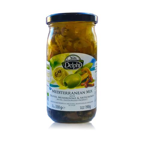 Средиземноморский микс с оливками и грибами и артишоками в масле Delphi 330 гр