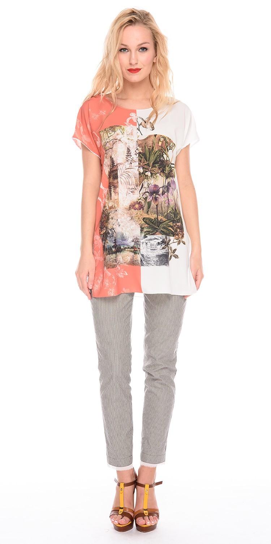 Блуза Г595а-129 - Удлиненная блуза свободного силуэта. Спущенная линия плеча, пройма обработана тонким кружевом. Лёгкая ткань дарит телу приятные ощущения, не мнется и хорошо поддается стирке. Блузка хорошо сидит и вносит в образ эффект легкости.