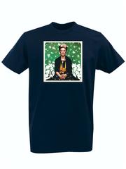 Футболка с принтом Фрида Кало (Frida Kahlo) темно-синяя 008