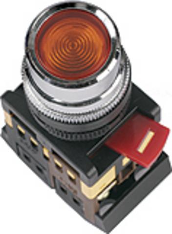 Кнопка ABLF-22 белый d22мм неон/230В 1з+1р TDM