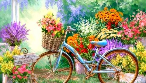 Картина раскраска по номерам 30x40 Велосипед с цветами
