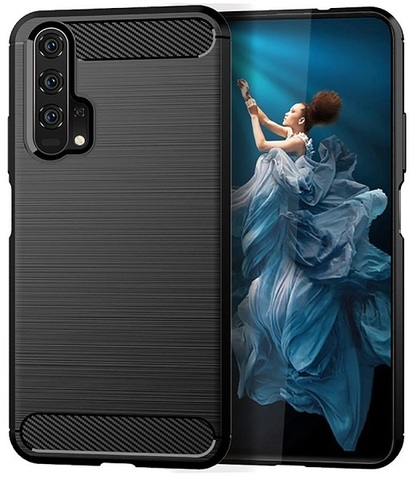 Чехол Honor 20 (Honor 20S, 20 Pro, Huawei Nova 5T) цвет Black (черный), серия Carbon, Caseport
