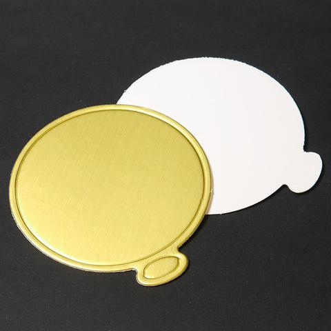 Подложка для пирожного круглая плотный картон с ручкой ЗОЛОТО(диаметр 90мм) 100шт (китай)