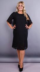 Ажур. Нарядное платье больших размеров. Черный.