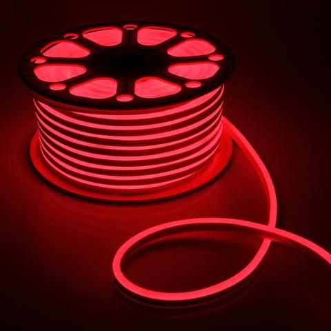 Гибкий неон 8х16 мм, светодиодный | Красный - 50м | 12 вольт