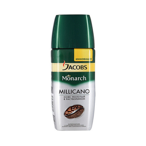 Кофе растворимый с молотым Jacobs Monarch Millicano 95 г (стекло)